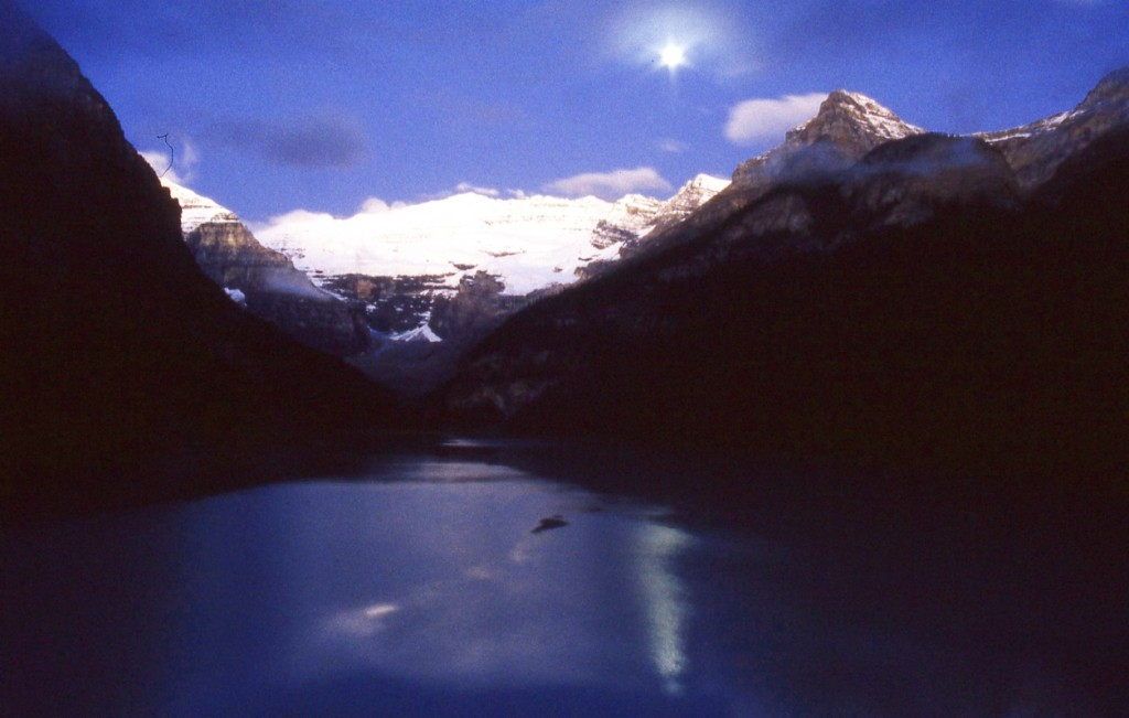 Moonlight over lake Louise