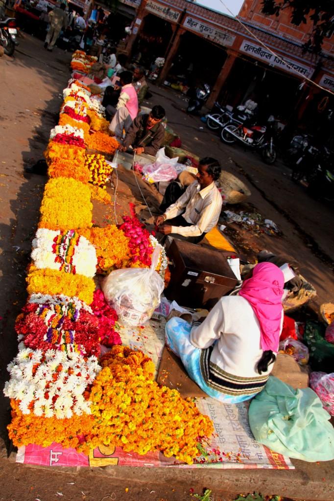 Jaipur--flower-street-scene