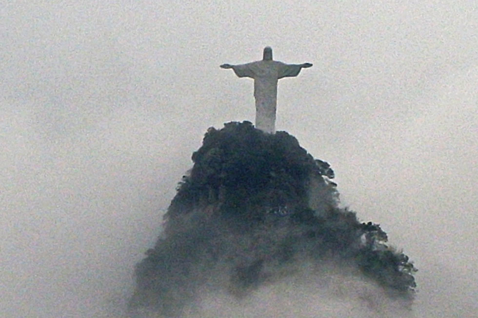 Christ The Redeemer (Corcovado), Rio - view from Santa Marta favela.