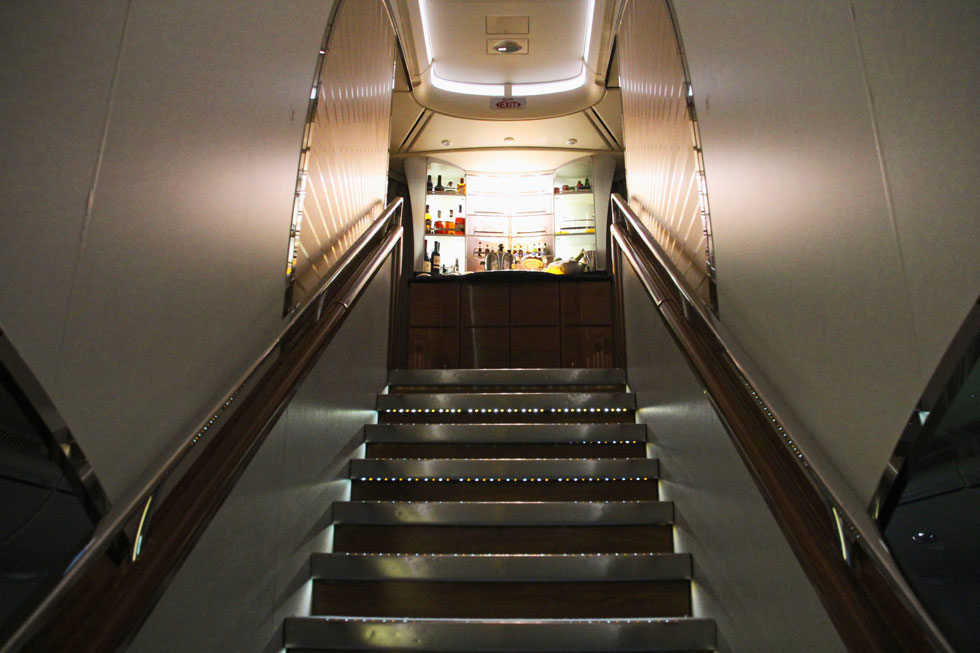 A380 Upper Class staircase entrance - more akin to a nightclub
