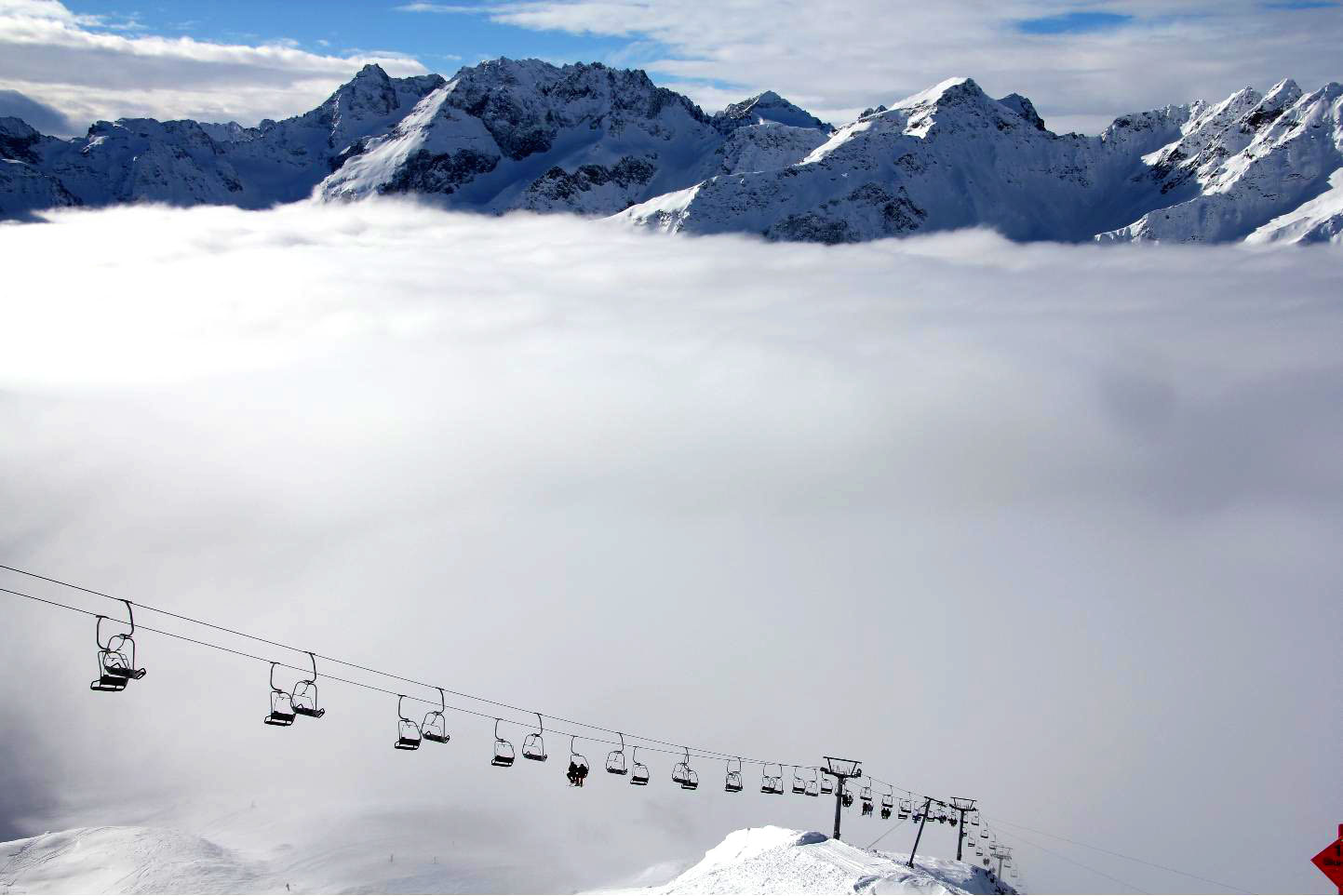Chairlift above the clouds © JonoVernon-Powell