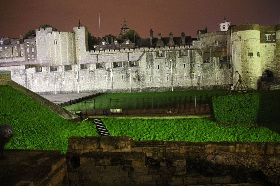 Tower of London western ramparts and filled-in Moat